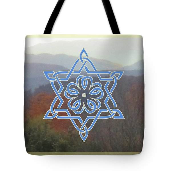 Celtic Hexagram Rose In Blue Tote Bag