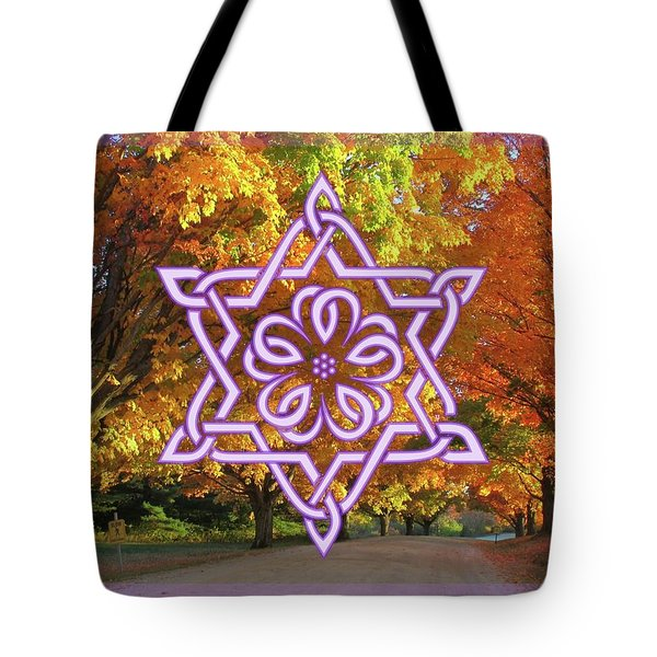 Celtic Hexagram Rose In Lavandar Tote Bag