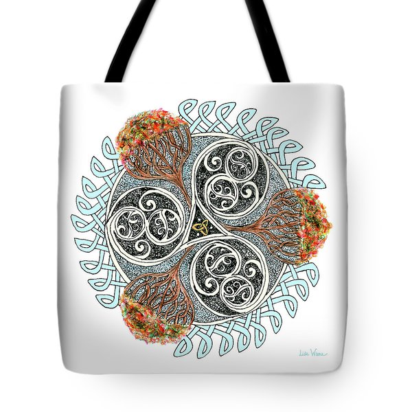 Celtic Knot With Autumn Trees Tote Bag