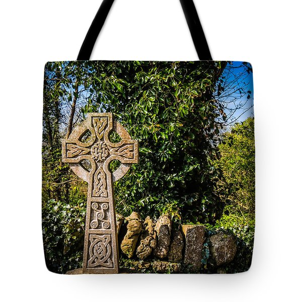 Celtic Knots Decorate A Celtic Cross Tote Bag