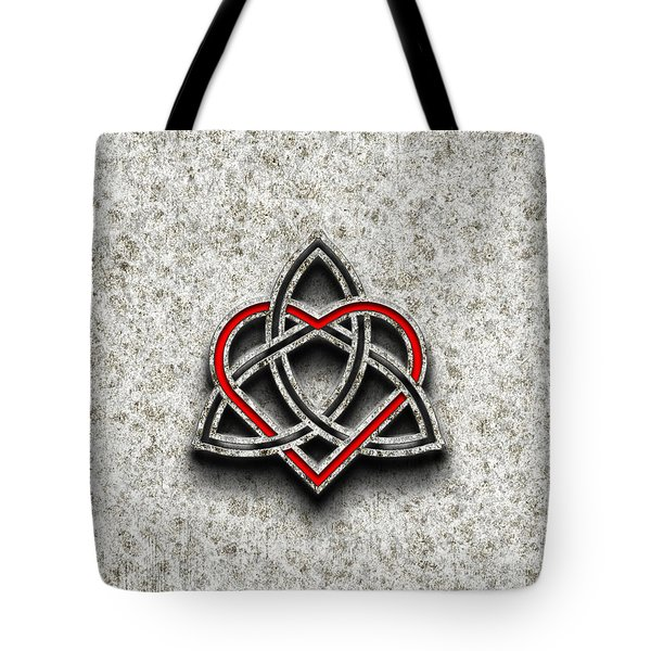 Tote Bag featuring the photograph Celtic Knotwork Valentine Heart Bone Texture by Brian Carson