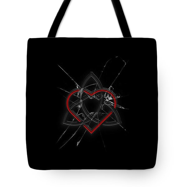 Tote Bag featuring the digital art Celtic Knotwork Valentine Heart Broken Glass 1 by Brian Carson