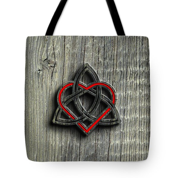 Tote Bag featuring the digital art Celtic Knotwork Valentine Heart Wood Texture 2 by Brian Carson