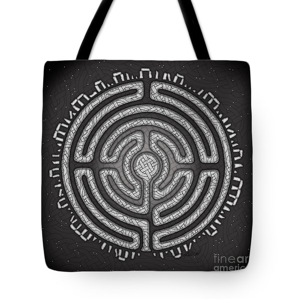 Tote Bag featuring the mixed media Celtic Labyrinth Mandala by Kristen Fox