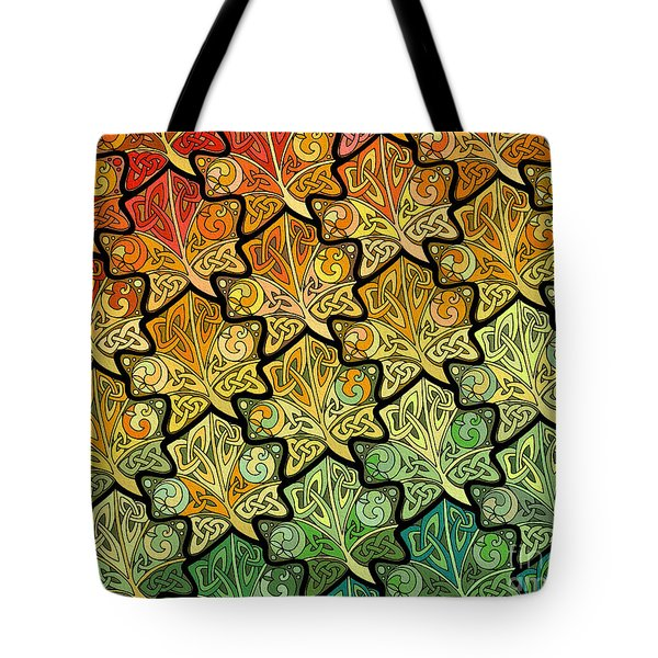Tote Bag featuring the mixed media Celtic Leaf Transformation by Kristen Fox