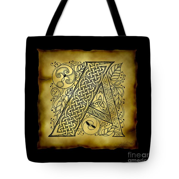 Celtic Letter A Monogram Tote Bag