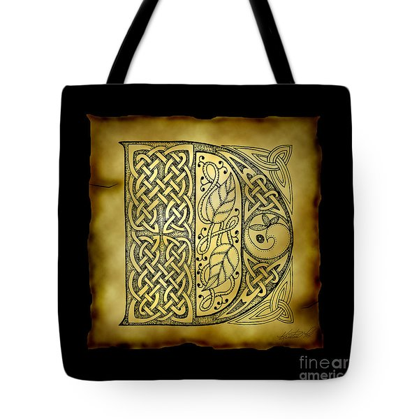 Celtic Letter D Monogram Tote Bag