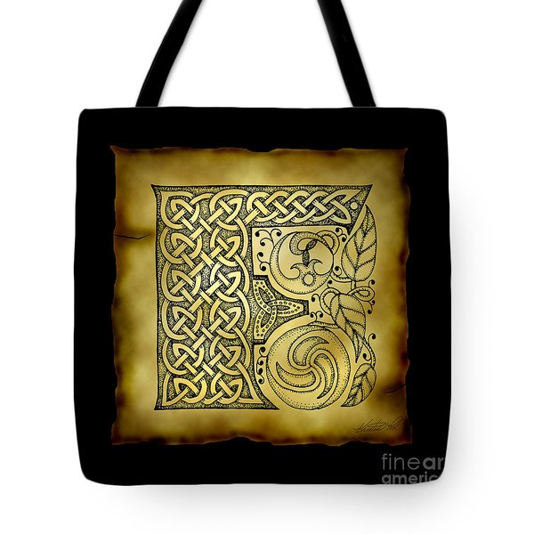Celtic Letter F Monogram Tote Bag