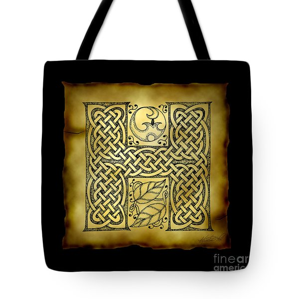 Celtic Letter H Monogram Tote Bag