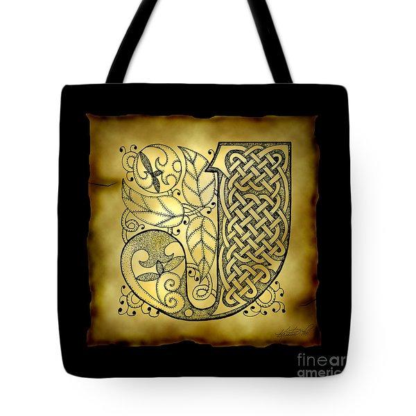 Celtic Letter J Monogram Tote Bag