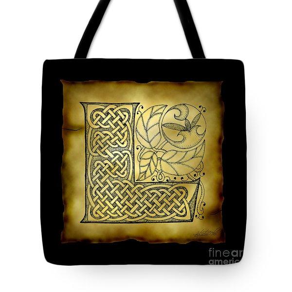 Celtic Letter L Monogram Tote Bag