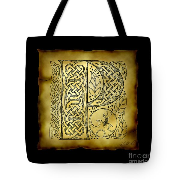 Celtic Letter P Monogram Tote Bag