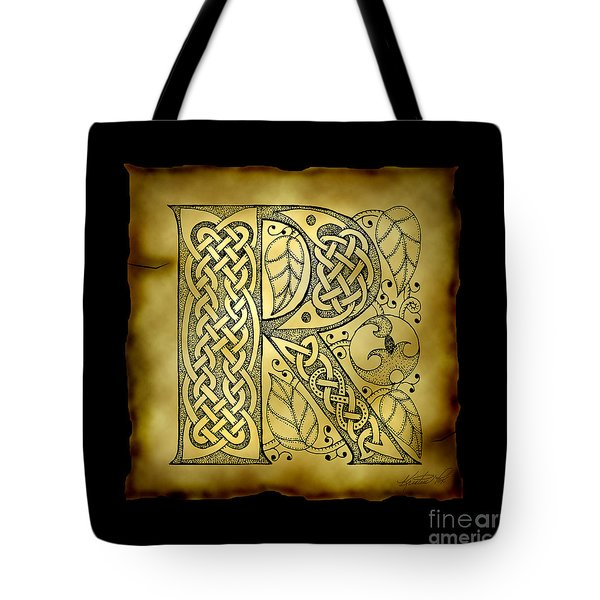 Celtic Letter R Monogram Tote Bag