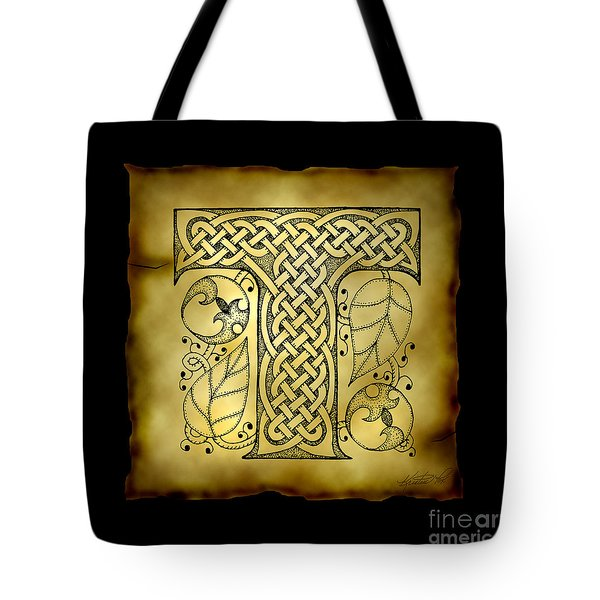Celtic Letter T Monogram Tote Bag