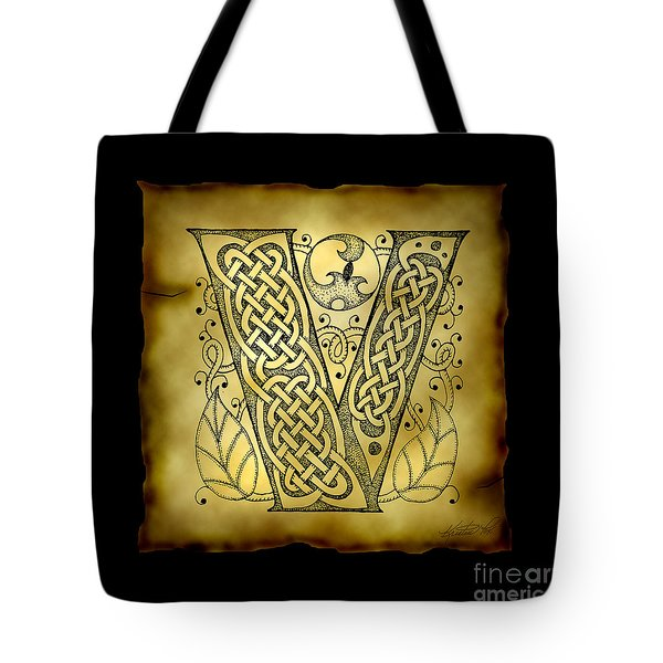 Celtic Letter V Monogram Tote Bag