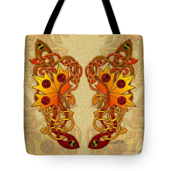 Tote Bag featuring the mixed media Celtic Loose Leaves by Kristen Fox