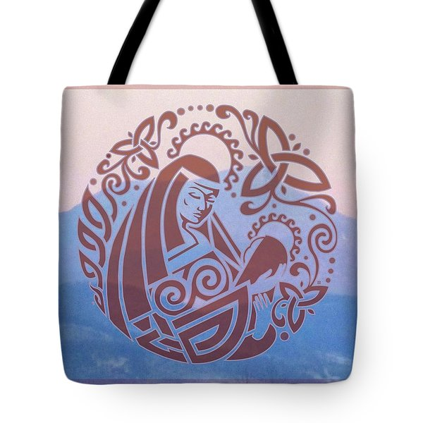 Celtic Madonna Over A Mountain Tote Bag