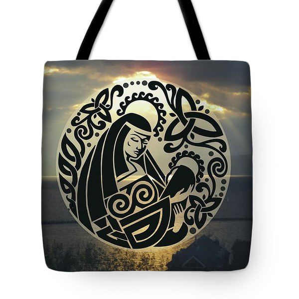 Celtic Madonna Over Sunset Tote Bag