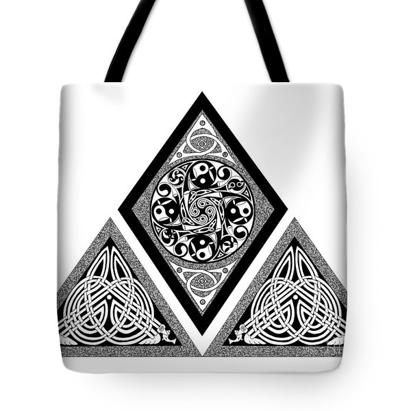 Tote Bag featuring the mixed media Celtic Pyramid by Kristen Fox