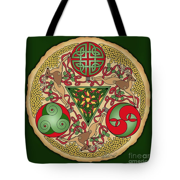 Tote Bag featuring the mixed media Celtic Reindeer Shield by Kristen Fox