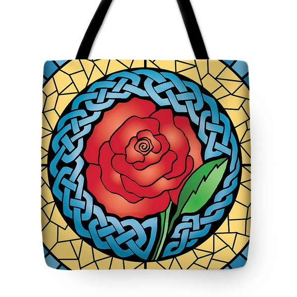 Tote Bag featuring the mixed media Celtic Rose Stained Glass by Kristen Fox