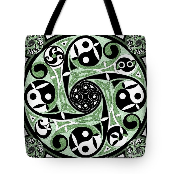 Tote Bag featuring the mixed media Celtic Spiral Stepping Stone by Kristen Fox