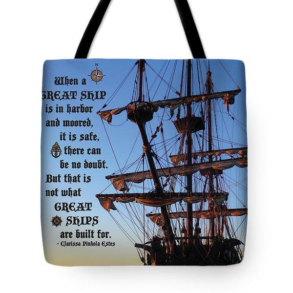 Celtic Tall Ship - El Galeon In Halifax Harbour At Sunrise Tote Bag