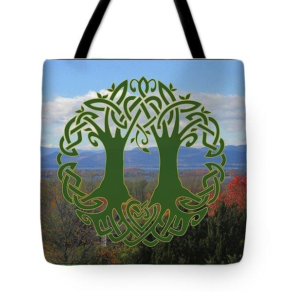 Celtic Wedding Tree In Green Tote Bag