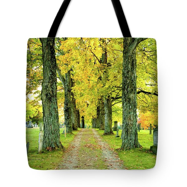 Tote Bag featuring the photograph Cemetery Lane by Greg Fortier