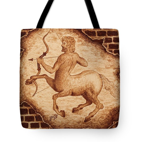 Tote Bag featuring the painting Centaur Hunting Original Coffee Painting by Georgeta Blanaru