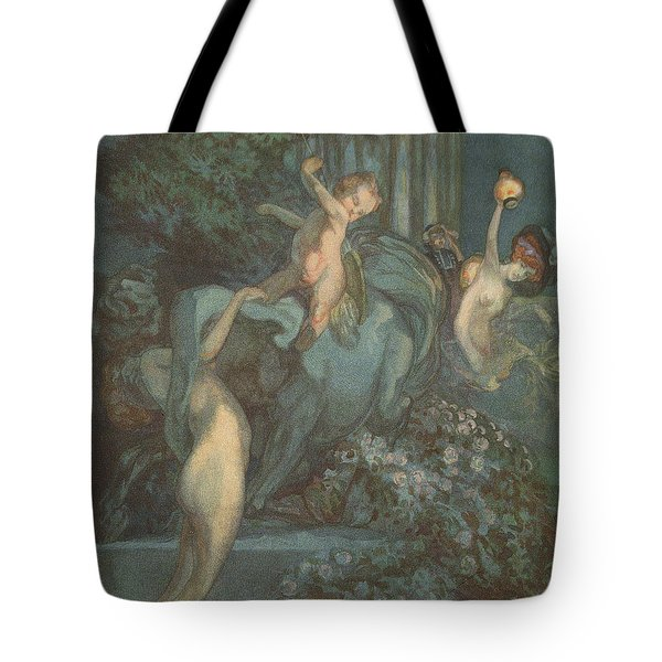 Centaur Nymphs And Cupid Tote Bag