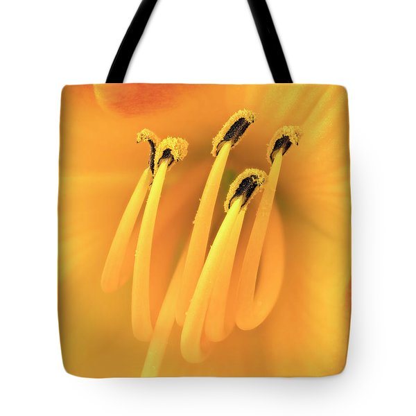 Center Of An Orange Daylily Tote Bag by Jim Hughes