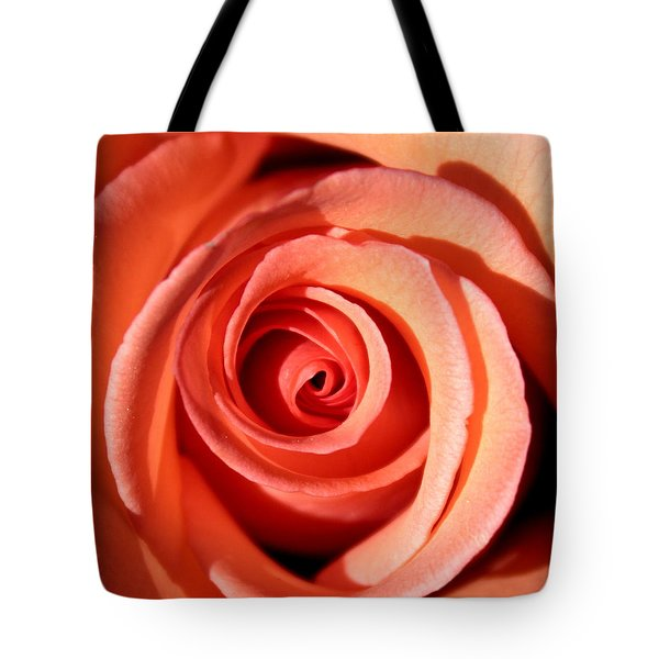 Tote Bag featuring the photograph Center Of The Peach Rose by Barbara Chichester