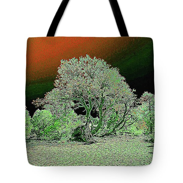 Tote Bag featuring the digital art Center Tree With Character And Neighbors by Merton Allen