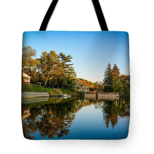 Centerport Harbor Autumn Colors Tote Bag