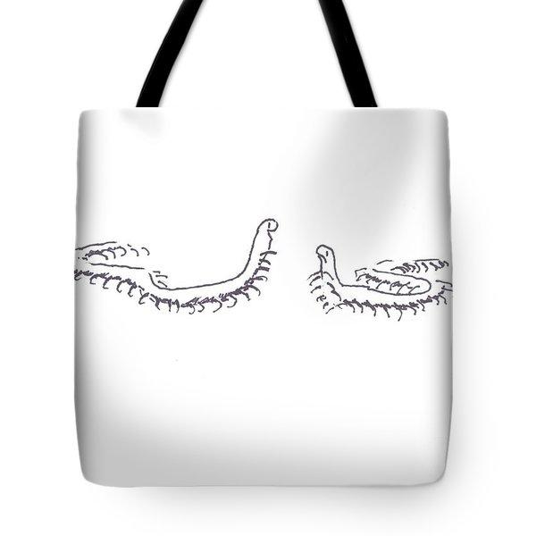 Centipedes In Discussion Cartoon Tote Bag by Kip DeVore