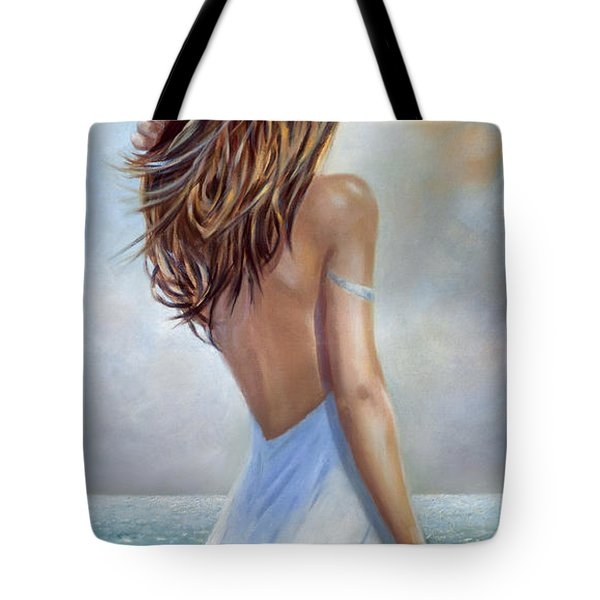 Tote Bag featuring the painting A Walk On The Beach by Michael Rock