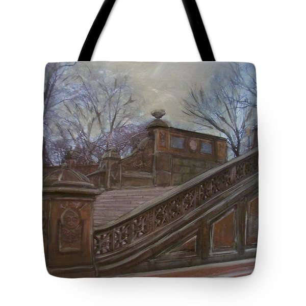 Central Park Bethesda Staircase Tote Bag by Anita Burgermeister