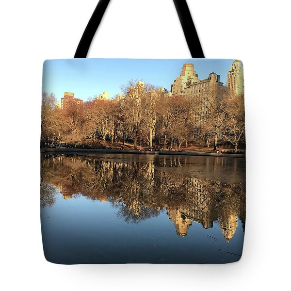 Tote Bag featuring the photograph Central Park City Reflections by Madeline Ellis
