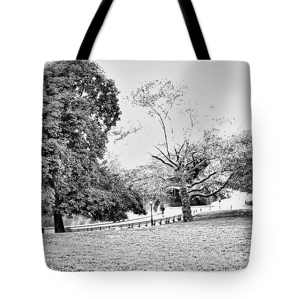 Tote Bag featuring the photograph Central Park In Black And White by Madeline Ellis