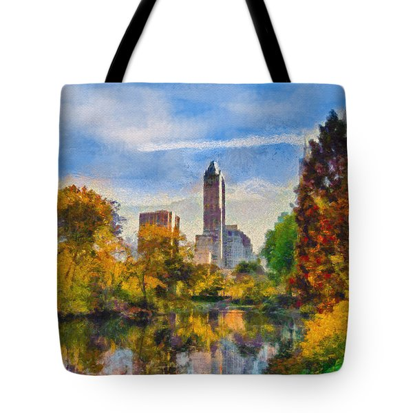 Tote Bag featuring the painting Central Park by Kai Saarto