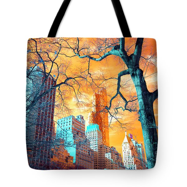 Tote Bag featuring the photograph Central Park Pop Art by John Rizzuto