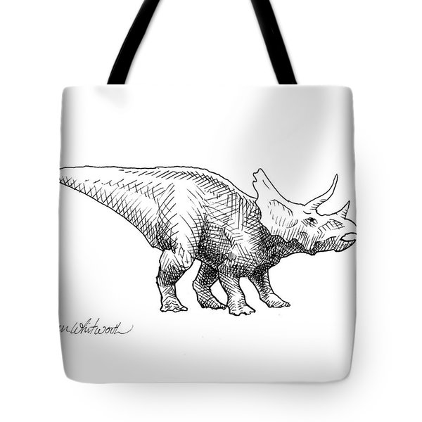 Cera The Triceratops - Dinosaur Ink Drawing Tote Bag