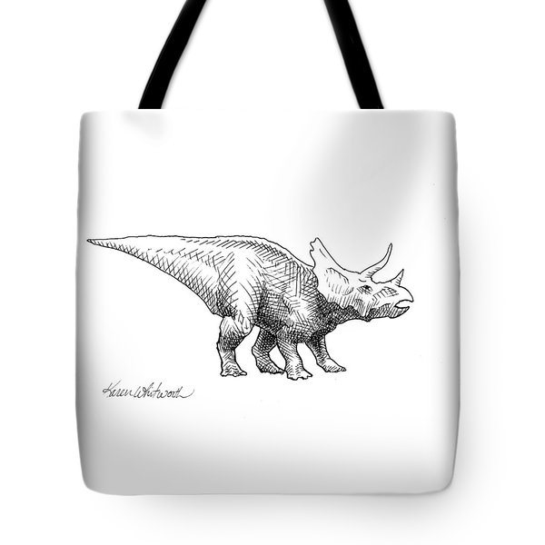Cera The Triceratops - Dinosaur Ink Drawing Tote Bag by Karen Whitworth