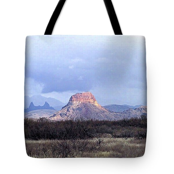 Tote Bag featuring the painting Cerro Castellan And Mule Ears  by Dennis Ciscel