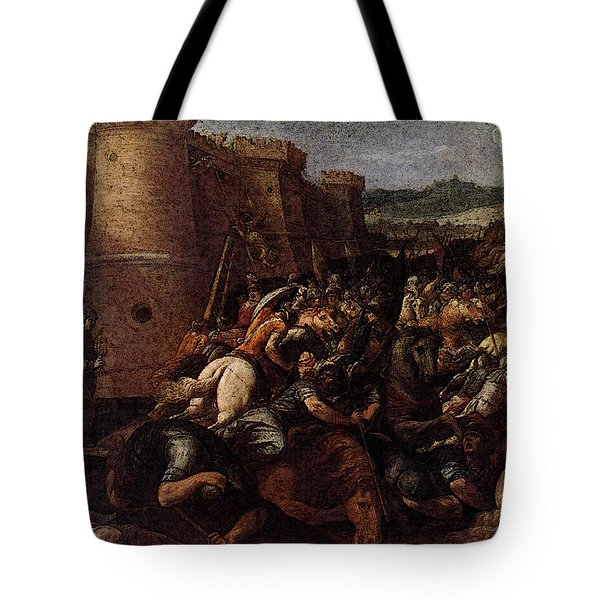 Cesari Giuseppe St Clare With The Scene Of The Siege Of Assisi Tote Bag by Giuseppe Cesari