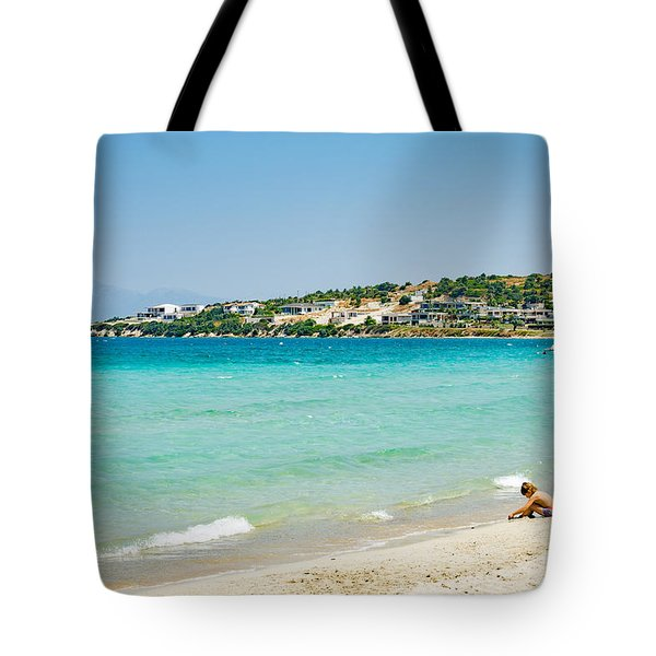 Cesme Beach On Sunny Day Tote Bag