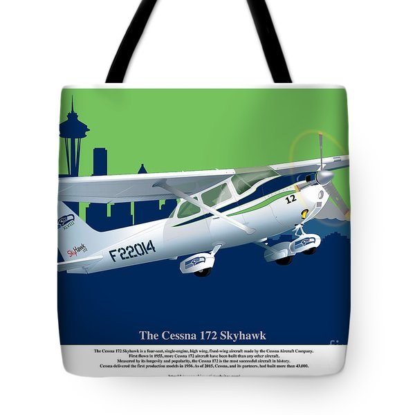 Tote Bag featuring the drawing Cessna Skyhawk 172 by Kenneth De Tore