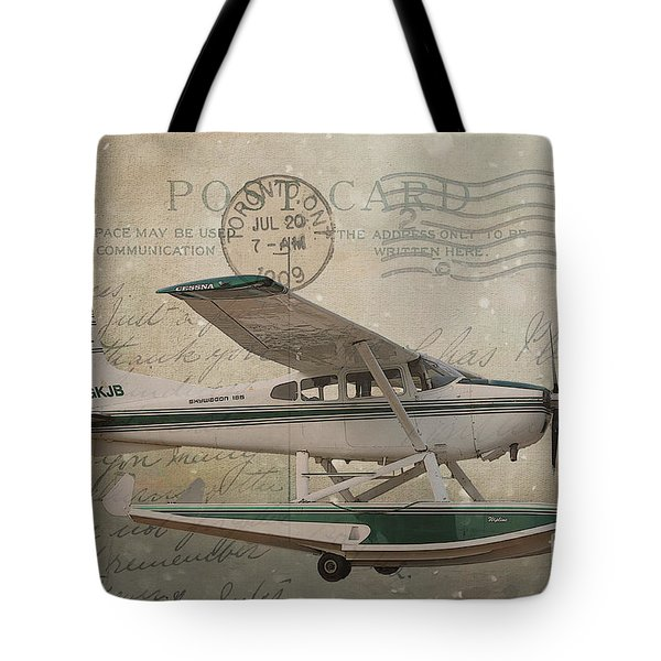Cessna Skywagon 185 On Vintage Postcard Tote Bag by Nina Silver