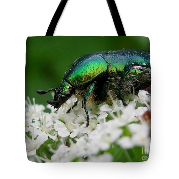 Tote Bag featuring the digital art Cetonia Aurata  by Irina Hays